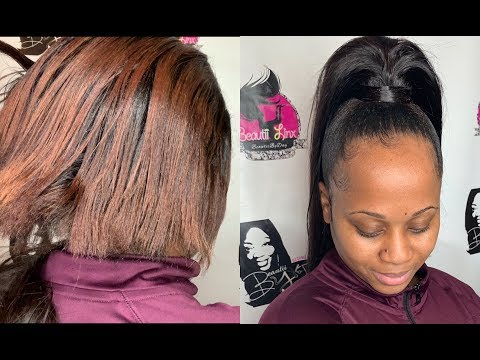 How to do a Ponytail on relaxed hair