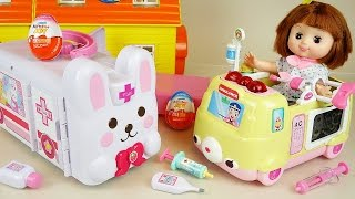 Baby doll ambulance car toys play Pororo and Kinder Joy Surprise eggs