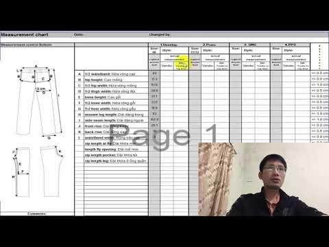 Tiếng Anh ngành may - Đọc hiểu, dịch bảng thông số hàng quần
