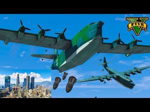 GTA V: Blohm & Voss BV 238 Bomber Attacks In Los Santos City Best Extreme Longer Crash Compilation