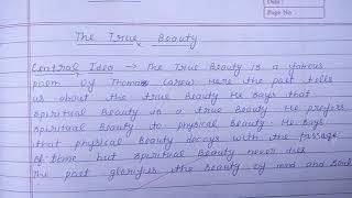 The True Beauty (Central Idea) :-Thomas Carew