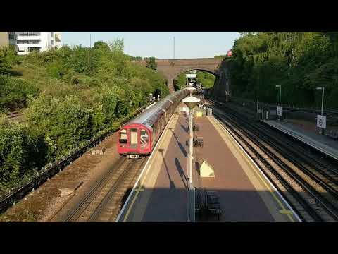 North Acton trains view from bridge. Central Line London Underground tube trains,