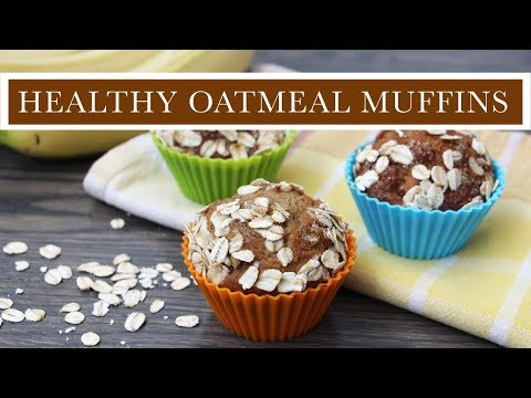 Healthy Oatmeal Banana Muffins Sweetened with Maple Syrup