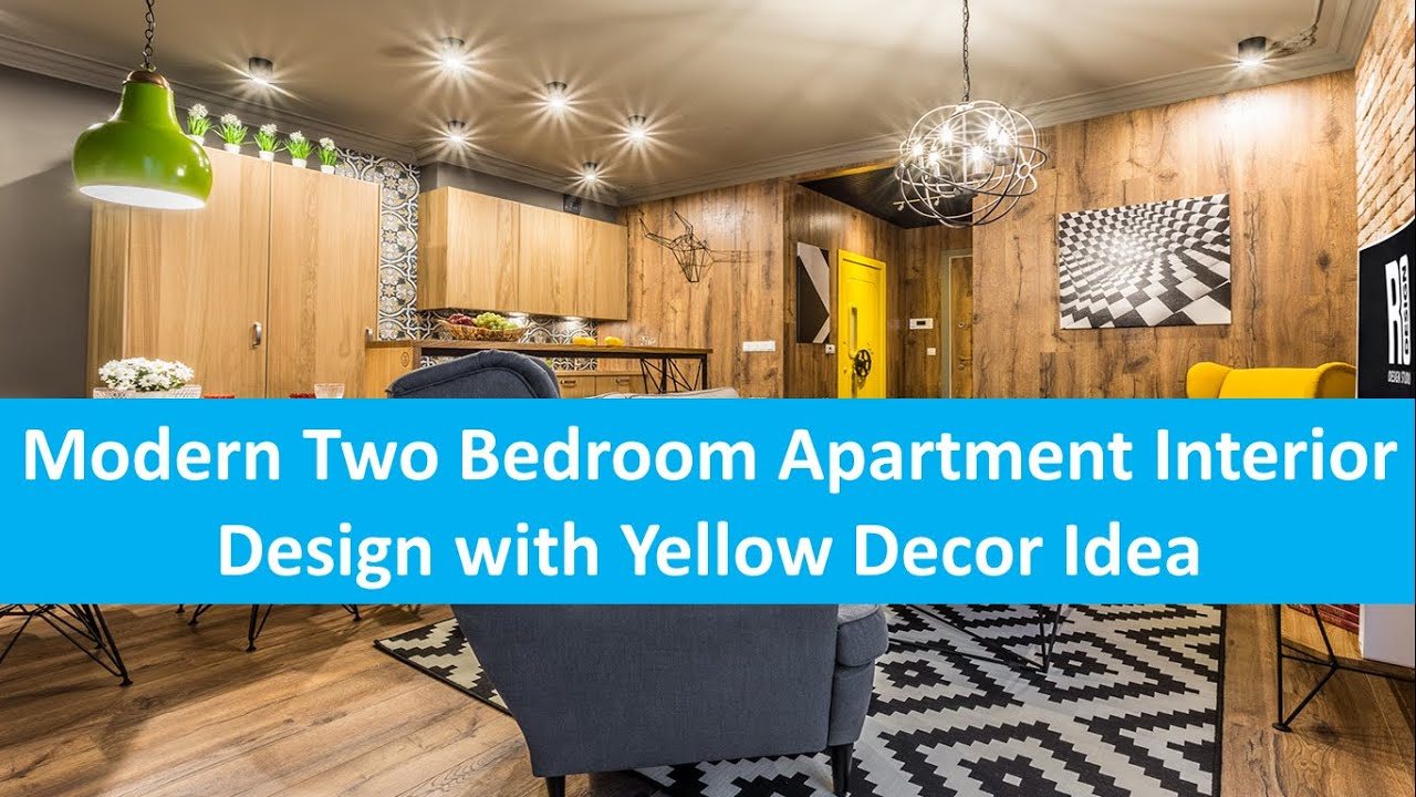 modern two bedroom apartment interior design with yellow decor