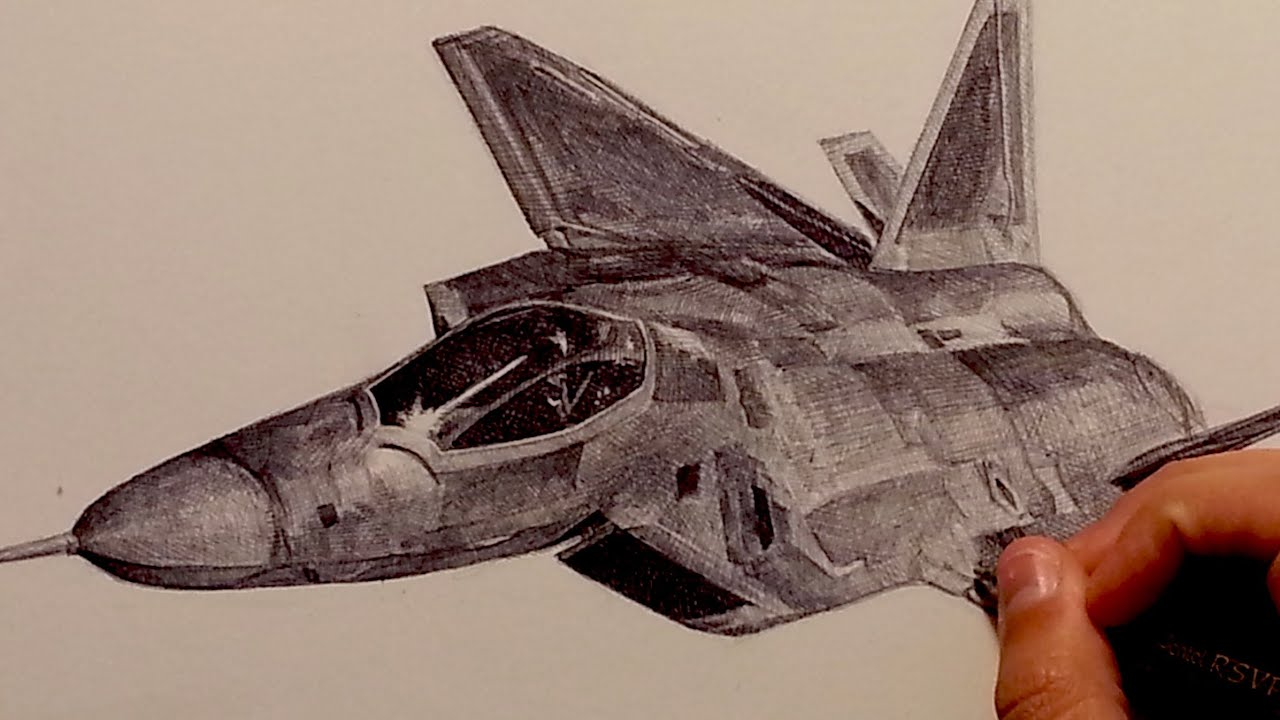 drawing f 22 raptor fighter aircraft with ballpoint pen youtube