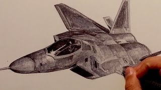 Drawing F-22 Raptor Fighter Aircraft with Ballpoint Pen