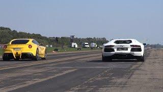Lamborghini Aventador LP700-4 vs Ferrari F12berlinetta - Drag Race!