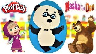 Huevo Sorpresa Gigante de Panda de Masha y el Oso de Plastilina Play Doh en Español