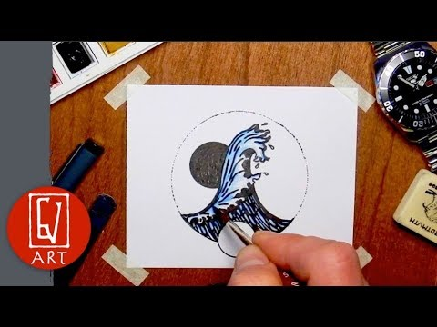 How To Draw An Ocean Wave - Pen And Ink Drawing- GvinciArt