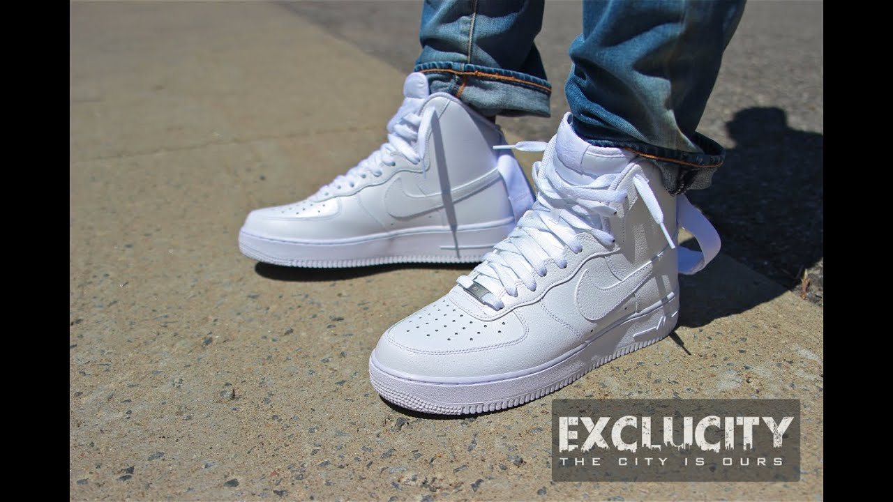 nike air force 1 high 39 07 white on white review youtube. Black Bedroom Furniture Sets. Home Design Ideas
