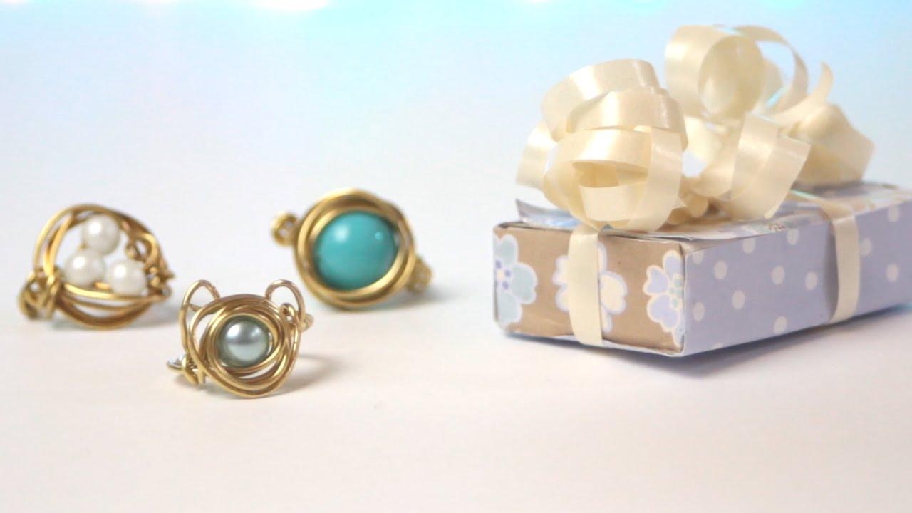 DIY: Bird\'s Nest Wire Jewelery Ring & Necklace   Gift Ideas - YouTube