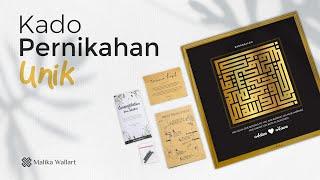 Hadiah Kado Pernikahan Kaligrafi Barakallah Dengan Custom Nama Varian Warna Gold