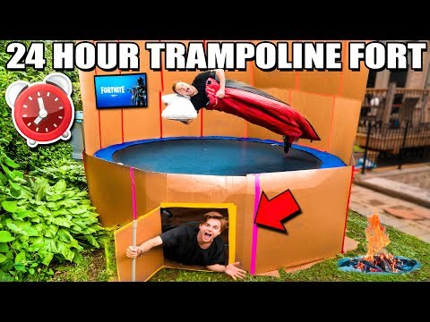 24 Hour TRAMPOLINE BOX FORT Challenge!  Fortnite, Beyblade & More!