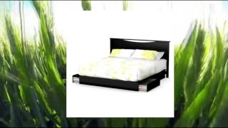South Shore Step One Platform Bed With Drawers King Pure Black