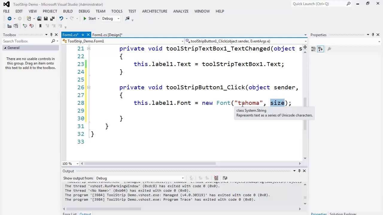 55. برمجة الواجهات - ToolStrip