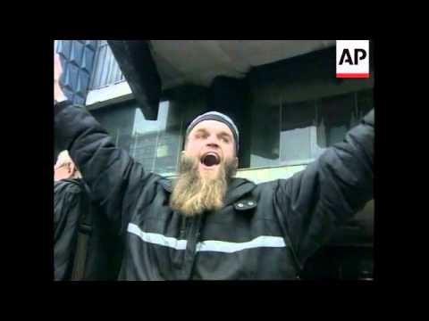 BOSNIA: MUJAHIDEEN FIGHTERS STAGE PROTEST