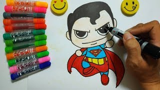How to Draw Superman Man of Steel Cute step by step  | Colors For Kids Learning