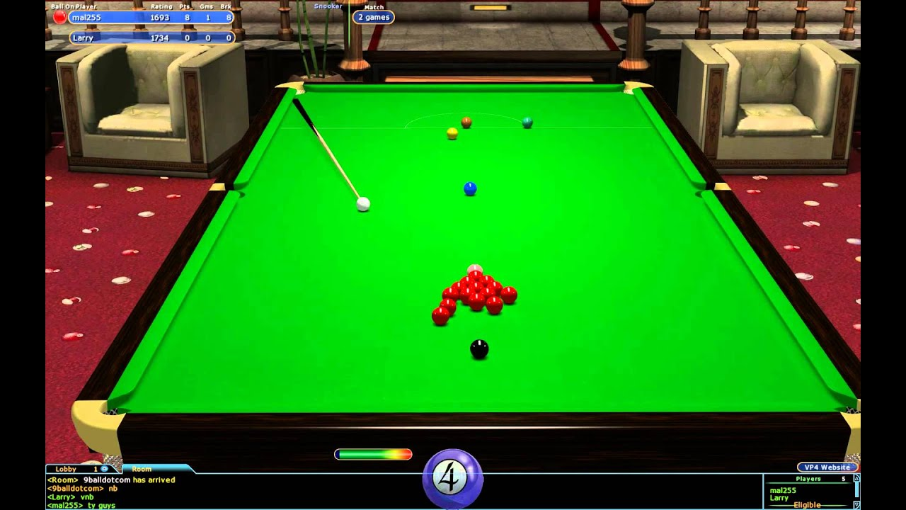 Virtual pool 4 online sunday snooker final larry v mal 255 for Pool game show