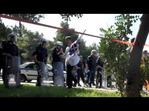 Greek nationalists protest against Bilderberg Group in Athens, Greece on May 16, 2009