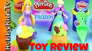 Disney FROZEN Princess Play-Doh CUPCAKE WARS! Elsa Rapunzel Cookie Monster Rex by HobbyKidsTV
