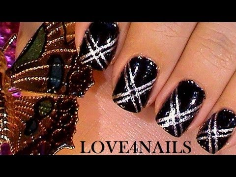 Quick And Easy Black Silver Short Nail Art Design Tutorial Youtube