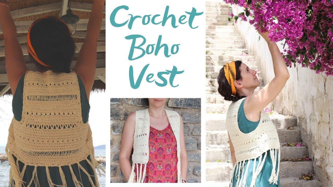 Crochet Boho Vest Easy Tutorial Youtube