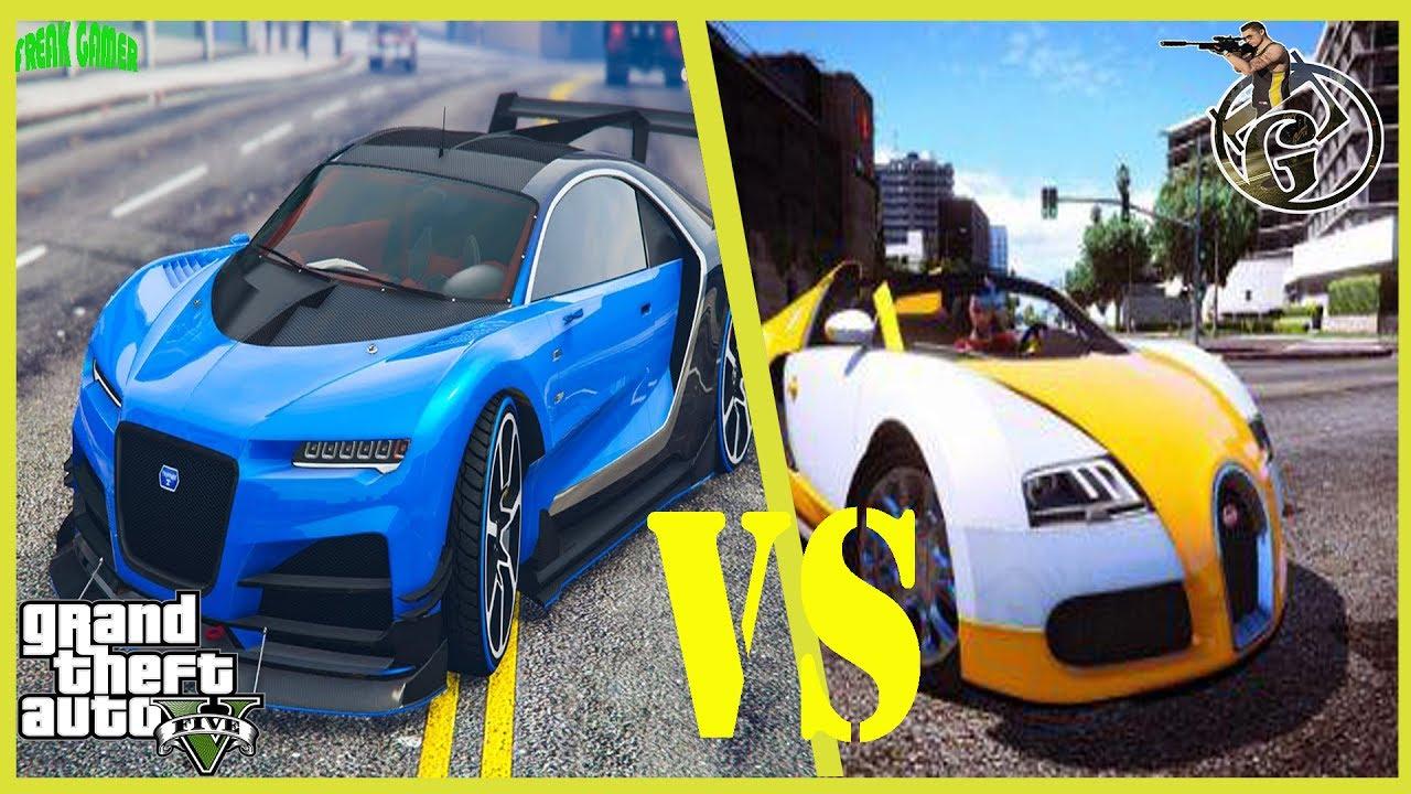 bugatti veyron vs bugatti chiron gta 5 - youtube