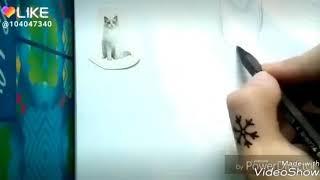Срисовываю кошку с наклейки😎.