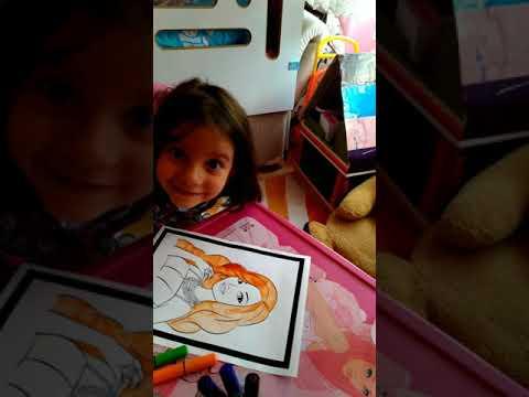 Aysenaz Turuncu Sacli Barbie Boyama Yapiyoruz Painting Barbi