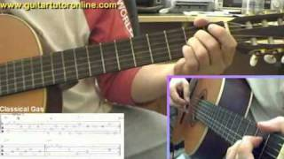 How to play Classical Gas by MASON WILLIAMS on Nylon Classical Guitar (Part 1/4)