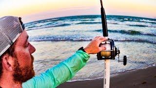 big fish caught while shark fishing on texas beach