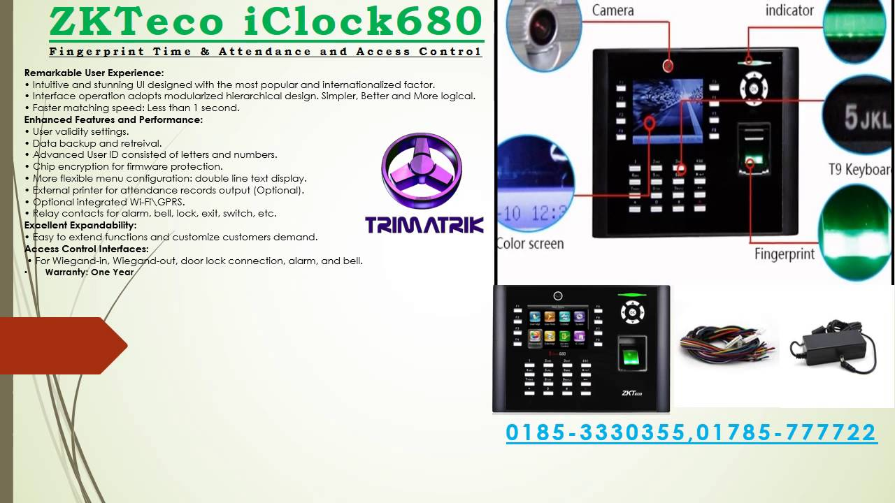 ZKTeco iClock680 Fingerprint Time & Attendance and Access Control