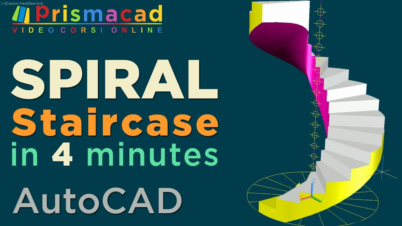 How to build a spiral staircase with autocad in few Spiral stair cad