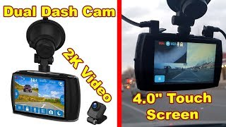 """Z-EDGE Dash Cam Pro Front and Rear 2K Video, 4.0"""" Touch Screen, Parking mode, GPS, WDR, G-Sensor"""