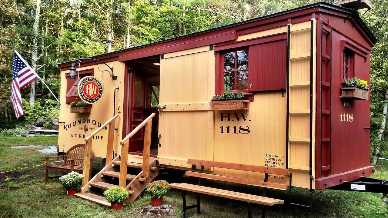 Boxcar Tiny House on railroad caboose plans, railroad car plans, large wooden train plans, railroad flatcar plans, railroad track plans,