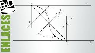 Enlazar dos rectas paralelas con arcos de igual radio (conocidos los puntos de tangencia).
