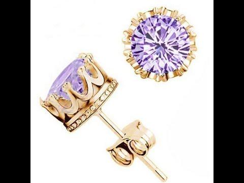 Crystal CZ Diamond Jewelry Crown Stud Earrings UNBOXING REVIEW ALIEXPRESS