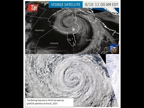 Hurricane Circulation Over the Arctic, August Snow Follows & 2nd Hurricane over Hudson Bay (205)