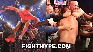 Download KHABIB FLYS OUT OF CAGE SECONDS AFTER CHOKING OUT DUSTIN POIRIER; BEAR HUGS DANA WHITE AT UFC 242 Mp3 and Videos