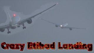 Crosswind Landings Etihad airways crazy Go around Stuck Mic Hurricane Gonzalo Manchester Airport