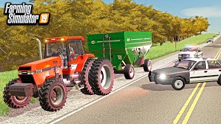 FARMER GET'S PULLED OVER DURING HARVEST! (FOR RACING)   FARMING SIMULATOR 2019