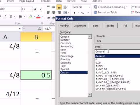 how to create a non reduced fraction in excel