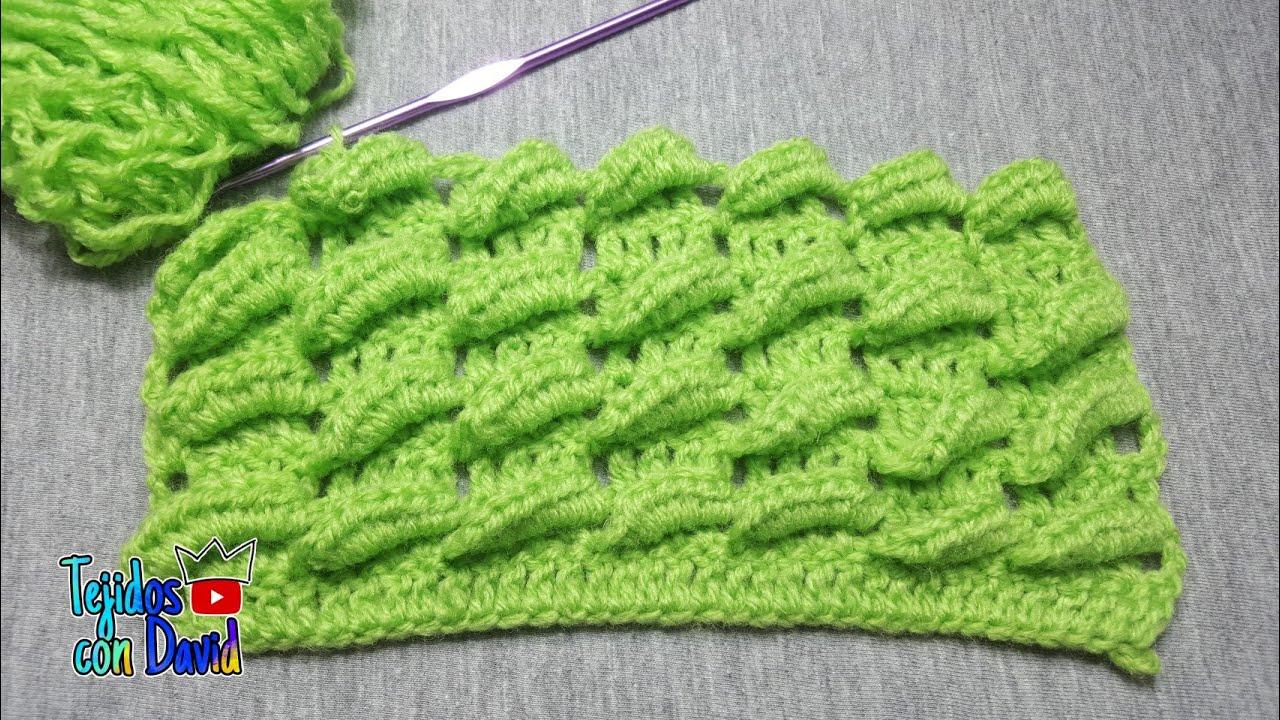 Puntada de hondas en 3D a crochet paso a paso