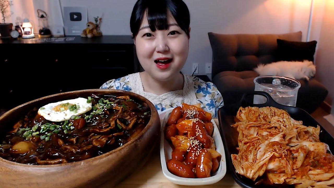맛있게 익은 김치와 매콤한 짜장밥 쏘야 먹방 Jjang bap(Black bean sauce rice) Kimchi Mukbang Eatingsound