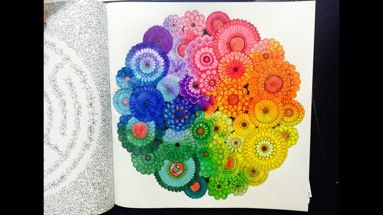 Secret Garden Colouring Book - Rainbow Flowers with Colour Pencil ...