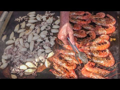 Italy Street Food. Orgy Of Fried And Grilled Seafood, Squid, Shrimps, Fish And More