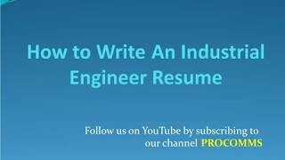 How To Write An Industrial Engineer Resume | Industrial Engineer Resume