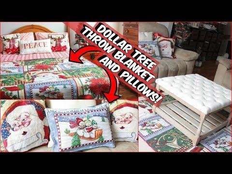 DOLLAR TREE CHRISTMAS BLANKET AND PILLOW DIY