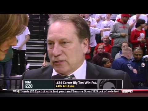Tom Izzo angry during halftime interview Ohio State