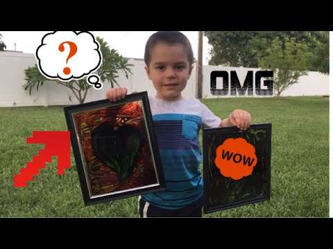 Painting glass picture frames with glue and food coloring!! - YouTube